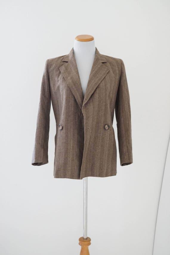 Vintage Tweed Blazer / Vintage 1980s Brown Blazer
