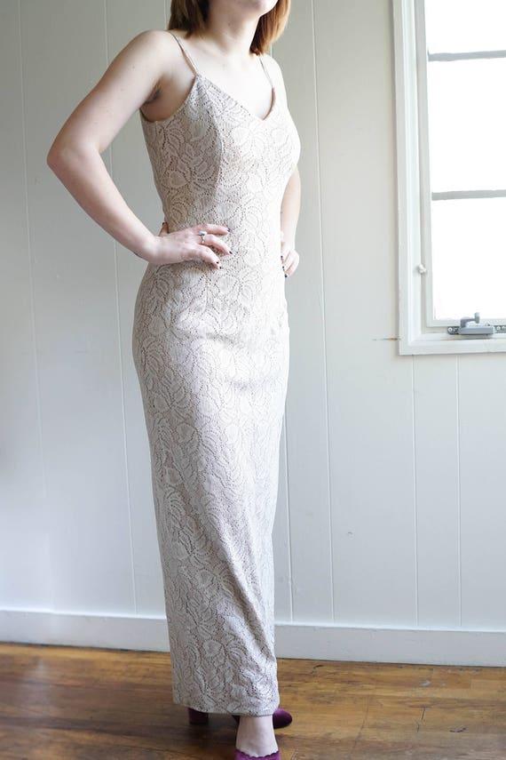 Vintage Formal Gown / 70s Formal Dress / Champagne