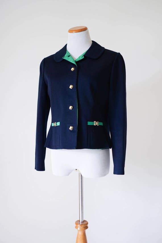 70s Blazer / Vintage Clothing / Vintage Navy and G