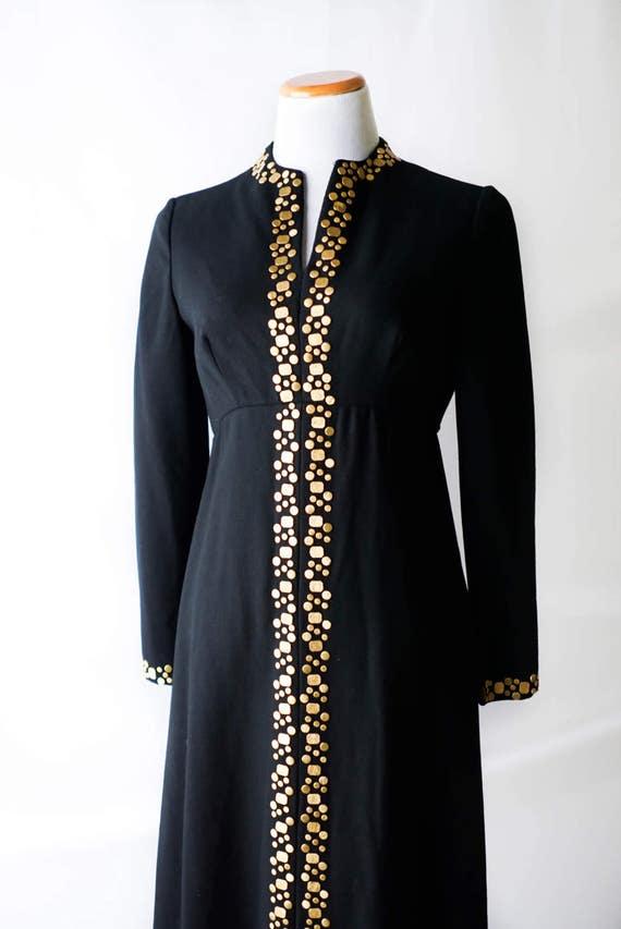 Vintage Dress   60s Black and Gold Dress   Vintage Black Dress  0edd28a30