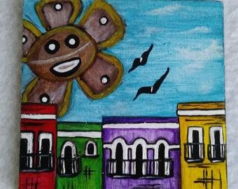 Mini painting of the native,old San Juan. Art of old San Juan. Native San Juan