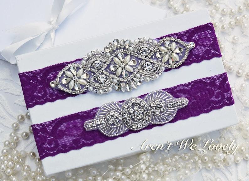 8f95b46427c Wedding garter purple garter plum bridal garter plum garter