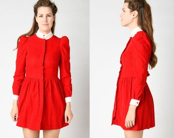 387ccb8f60b4 Red Corduroy Mini Babydoll Dress Long Puff Sleeves Cuffs Button Up Fit and  Flare Skirt 50's Style