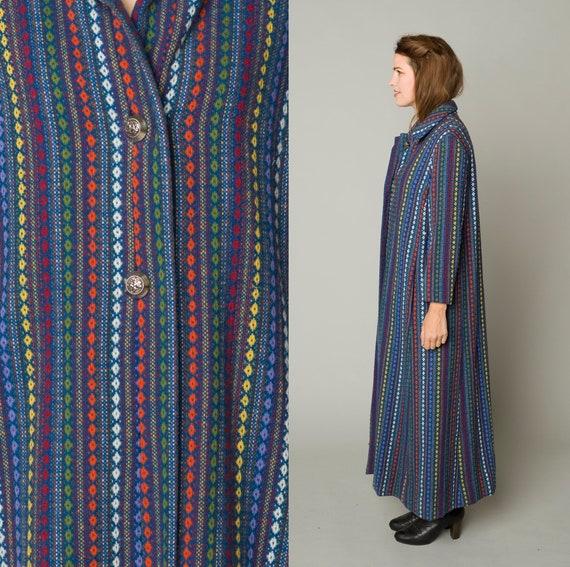 Beautiful Afghan Style Blanket Coat Rainbow Embroi