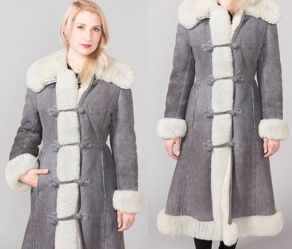 Gorgeous Russian Princess Afghan Coat Blue Gray Su