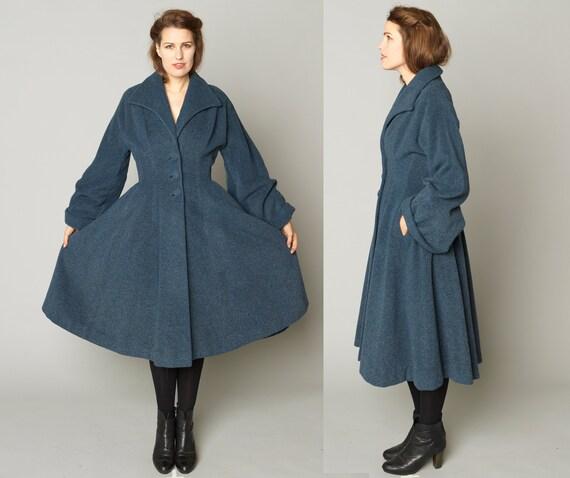 1940's 1950's LILLI ANN Princess Coat Charcoal Blu