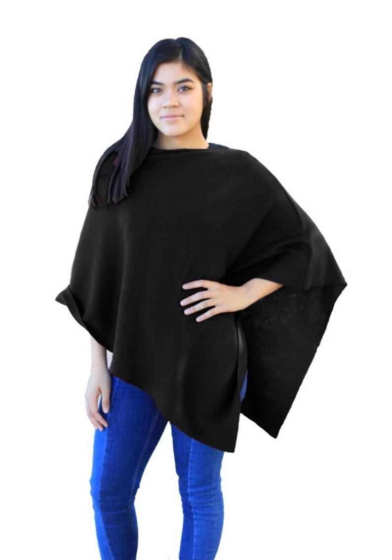 2cfa86f5c Ribbed Knit Poncho 100% Cashwool® Merino Wool 2x1 Rib Knit   Etsy