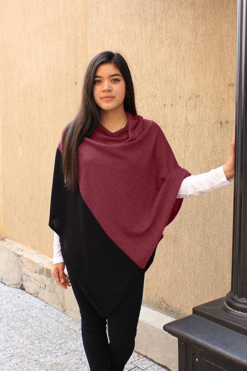 7c96dc1dc Colorblock Jersey Knit Poncho 100% Cashwool® Merino Wool   Etsy