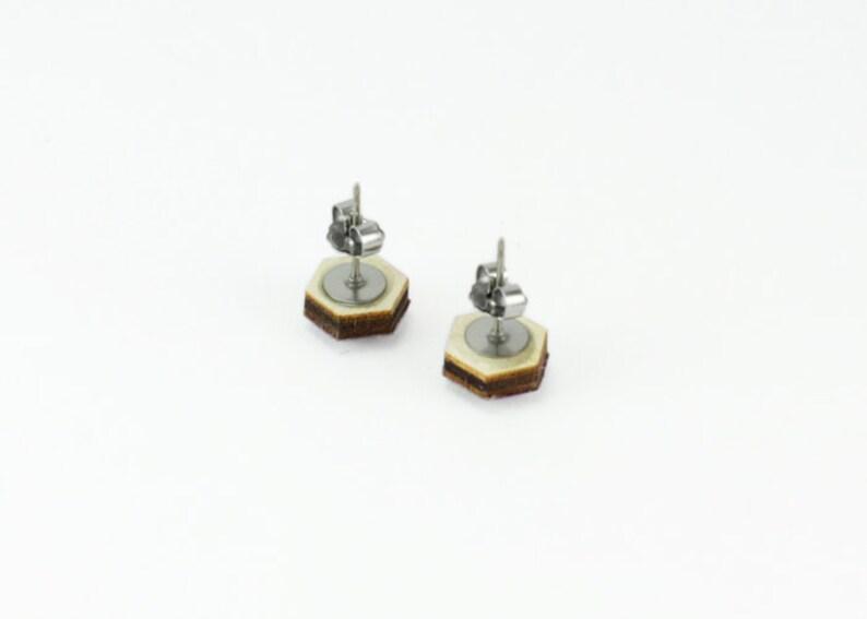 Titanium yellow polka dot hexagon mini studs with hypoallergenic nickel free posts