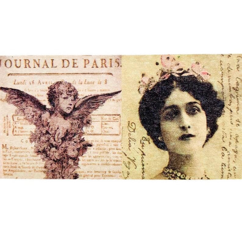Birds Victorian Ladies Vintage-Inspired Ephemera Snail Mail Washi Tape SAMPLE for Junk Journal Romantic Paris Flowers Shabby Chic