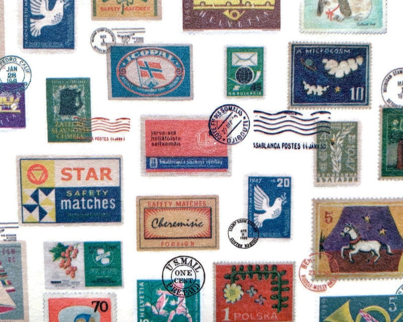 Junk Journal Mail Art Stamps and Postmarks Stationery Happy Mail Vintage-Inspired Planner WIDE Washi Tape SAMPLE Snail Mail Pen Pal