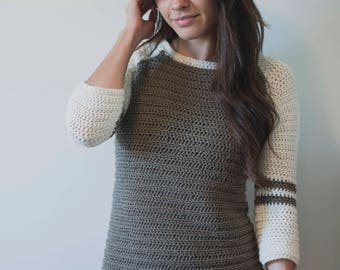 PDF Crochet Pattern for the Varsity Sweater Pullover - Megmade with Love