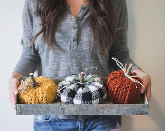 PDF Crochet Pattern for THREE Rustic Pumpkins