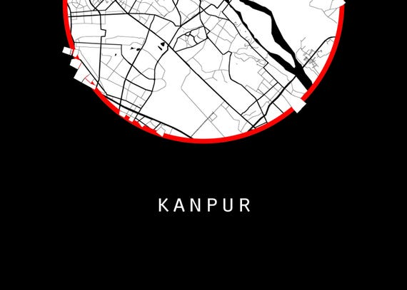 Kanpur Map World Map India Map Maps Black And White Map Etsy