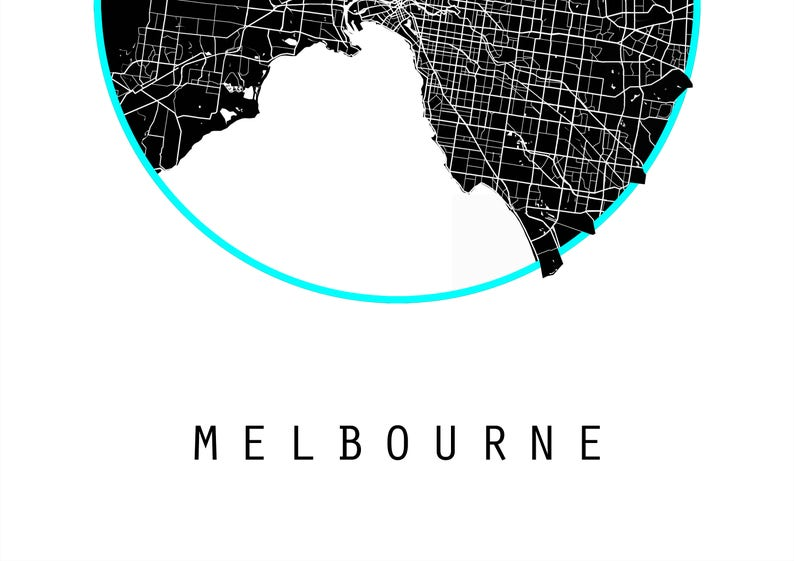 Melbourne Map Australia Map Victoria Map Maps Black And Etsy