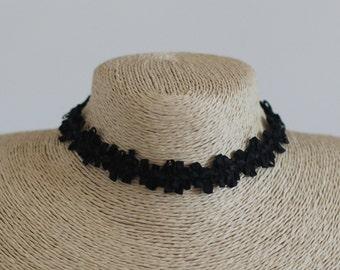 FRANCESCA Choker/ Ribbon Choker/ Black Floral Choker/ High Quality Lace Choker