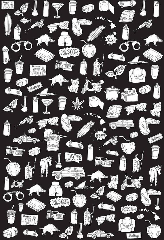 Oasis Da Kine Emoji Pattern Womens T-Shirt Black