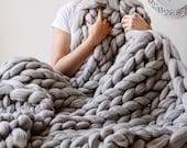 Giant Blanket, 100% Merino Wool Blanket, Chunky Knit Blanket, Knitted Blanket, Arm Knit Blanket, Chunky Wool Blanket, Home Knit decor, Gift