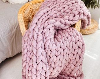 Chunky Blanket, Chunky Knit Blanket, Throw, Blanket, Arm Knitted Blanket, Wool Blanket, Merino Wool Chunky Blanket Throw, Home Decor, Gift