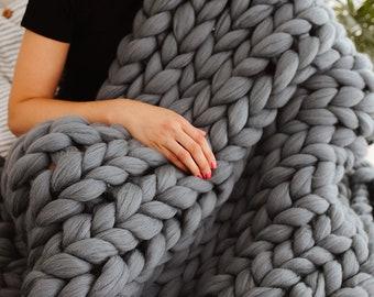 Chunky Blanket, Chunky Knit Throw, Giant Wool Blanket, 100% Merino Wool, Birthday Gift, Handmade Chunky Blanket Boho, Bedding, Home Decor