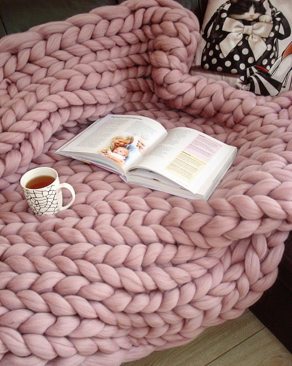 Chunky Knit Blanket, 100% Merino Wool Blanket, Arm Knit Blanket, Chunky Blanket, Christmas Gifts, Giant Blanket, Chunky Wool Blanket, Throw by Etsy
