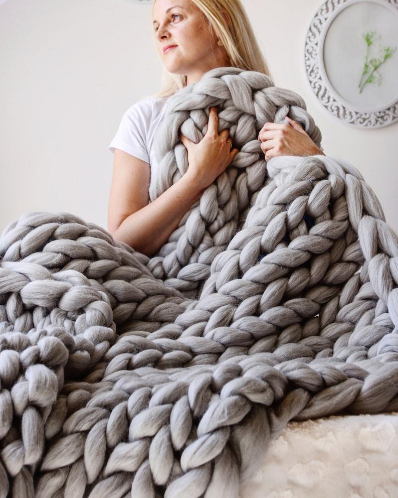 Giant Blanket 100% Merino Wool Blanket Chunky Knit Blanket image 0
