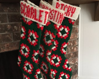 Free Shipping USA-Crochet Granny Square Christmas Socks with or without cuff/name