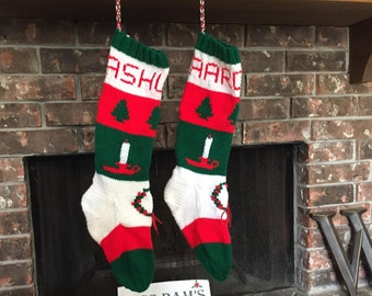 FREE Shipping U.S.A. on Hand Knit Vintage Christmas Stockings