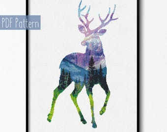 Wild Deer Cross Stitch pattern, Deer Pattern, Mountain Forest Woodland Animal, Modern Cross Stitch, Instant Download,Wall decor,Sale pattern