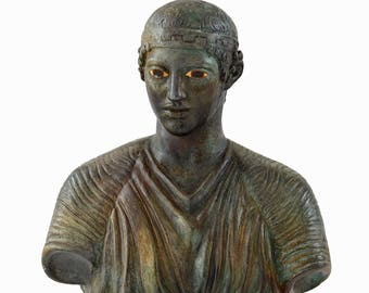 Charioteer of Delphi Bust with Bronze Color Effect - Ancient Greece - Museum replica