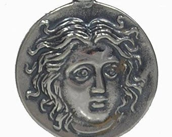 Helios Ancient Sun God Small Silver Pendant - Apollo God of Light - Rodos Helius