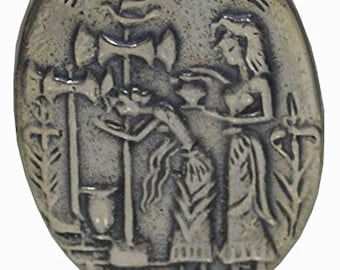 Palace of Knossos Sterling Silver Brooch Pin Minoan Crete - Labrys Double Headed Axe