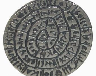 Phaistos Disk Small Silver Pendant - Minoan palace - Crete