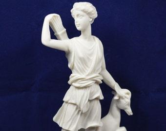 Artemis with deer sculpture statue Ancient Greek Goddess of hunt Diana