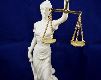 Themis sculpture  Goddess of Justice artifact Alabaster statue