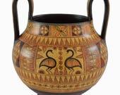 Minoan Pottery Kantharus Vase - Geometric Design - Handmade in Greece
