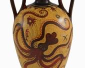 Minoan Art Pottery Amphora Vase - Octopus - Ancient Crete - Handmade in Greece