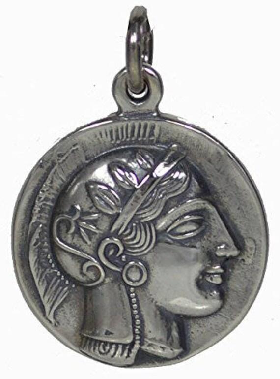 Athens Tetradrachm - Goddess Athena & Owl of Wisdom Large Silver Pendant - Virgin Goddess