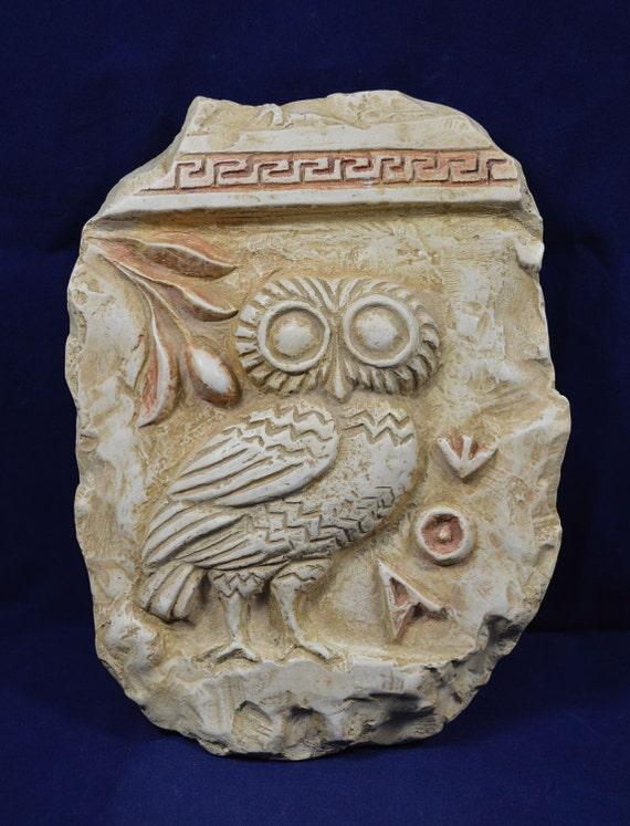 Owl relief ancient Greek symbol of wisdom owl repousse sculpture