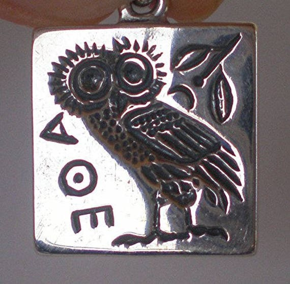 Owl of Wisdom Small Sterling Silver Pendant Goddess Athena Symbol