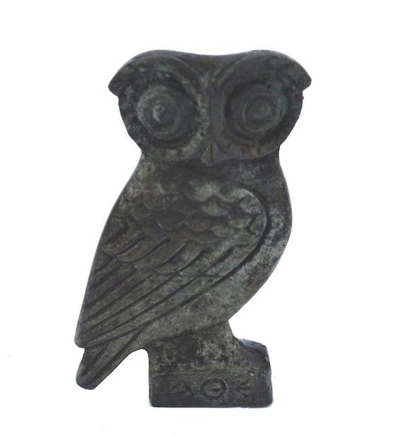 Bronze Owl of Athens flat mini sculpture - Goddess Athena - Symbol of Wisdom