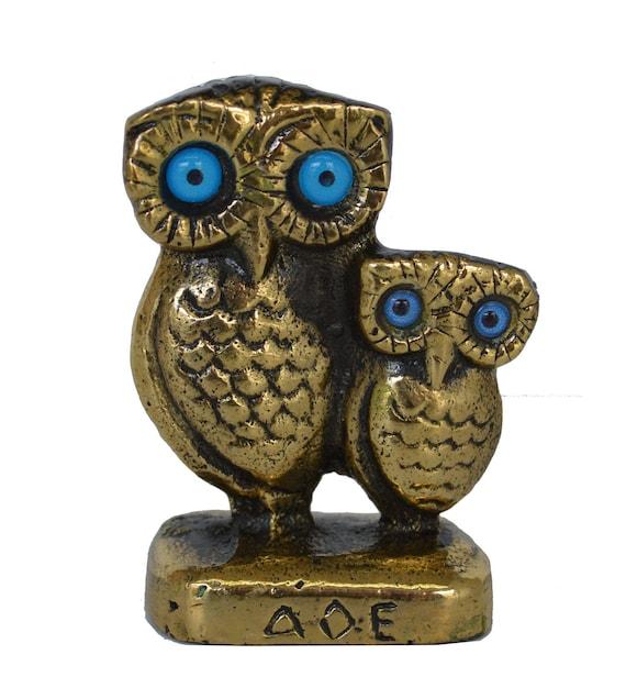 Mini Bronze Owl Family - Symbol of Wisdom - Goddess Athena Ancient Greece