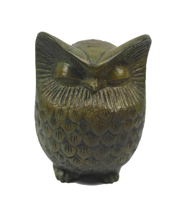 Bronze Owl with wide eyebrows sculpture ancient Greek miniature reproduction statue