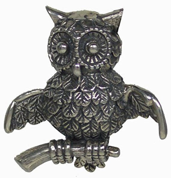 Owl Of Wisdom Silver Brooch Pin - Goddess Athena - Ancient Greece