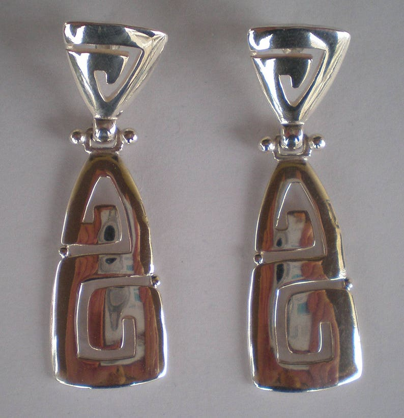 Ancient Greece Meander Sterling Silver 925 Earrings Maiandros Design