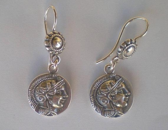 Athens Tetradrachm - Goddess Athena & Owl of Wisdom Silver Earrings
