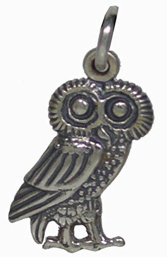 Owl Of Athens Small Silver Pendant - High Quality Item - Goddess Athena Symbol of Wisdom