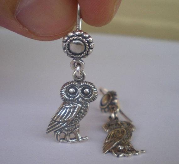 Owl of Wisdom Silver Earrings - Goddess Athena Symbol