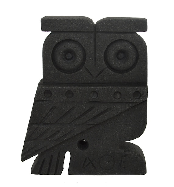 Owl of Athens flat figurine - Symbol of wisdom and Goddess Athena - Santorini