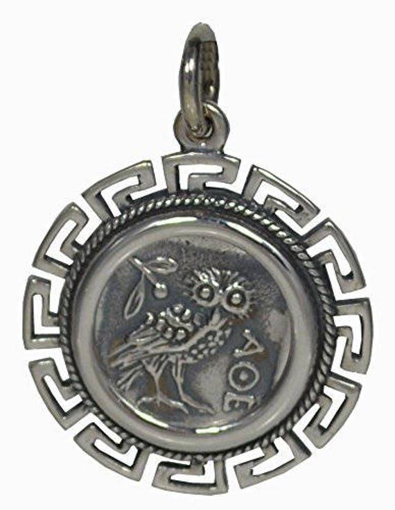 Owl Of Wisdom Silver Pendant with Meander Design High Quality Item - Athena
